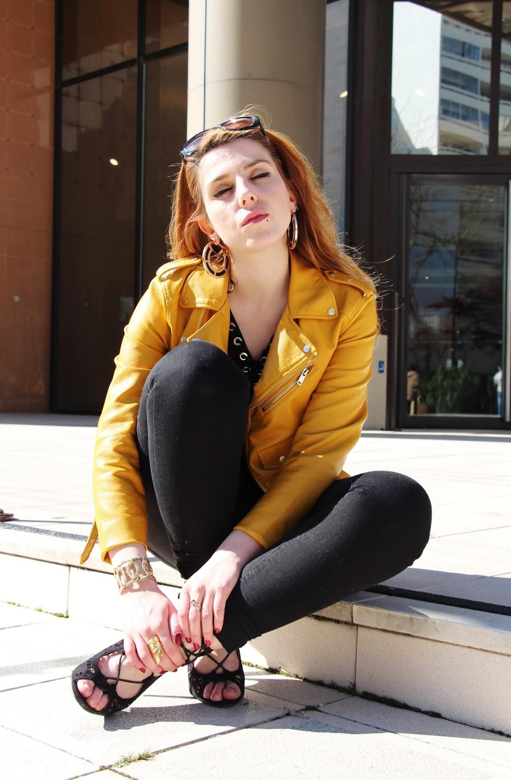 Veste cuir jaune only