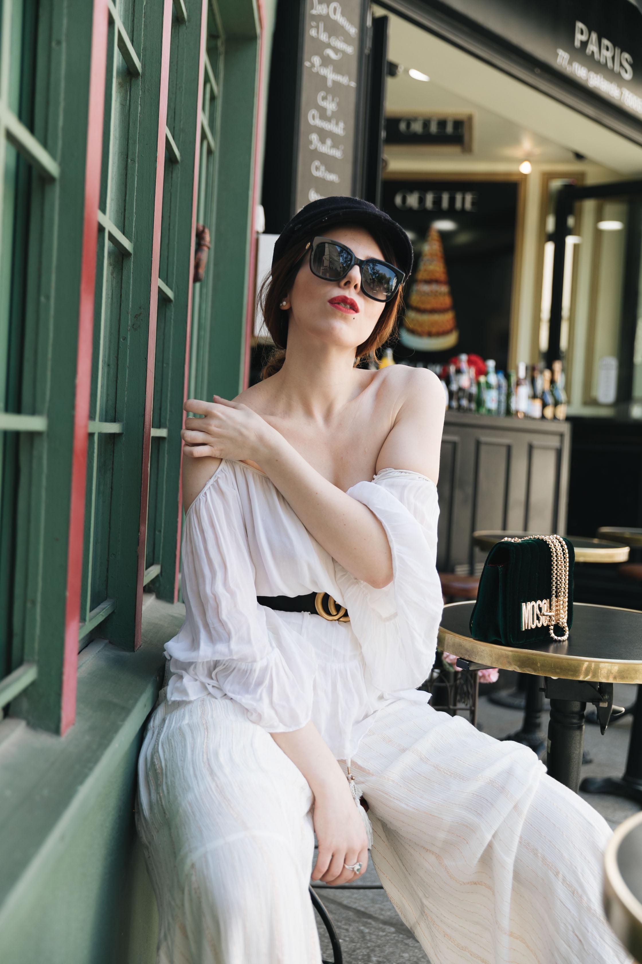 trench orange pantalon oversize tenue mode patisserie Odette Paris saint michel charlie sugar town