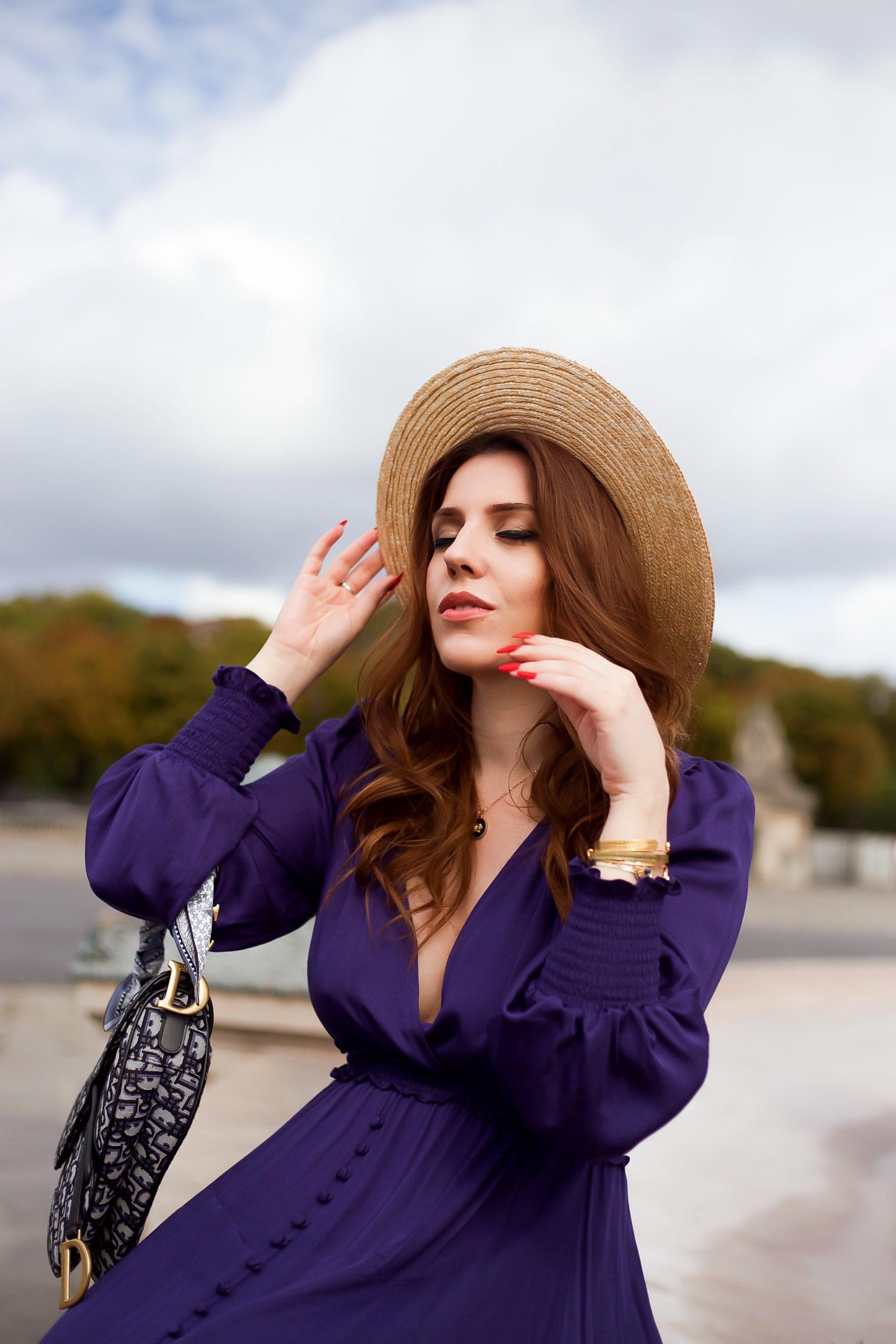robe derhy tenue paris élégante chapeau paille sac dior