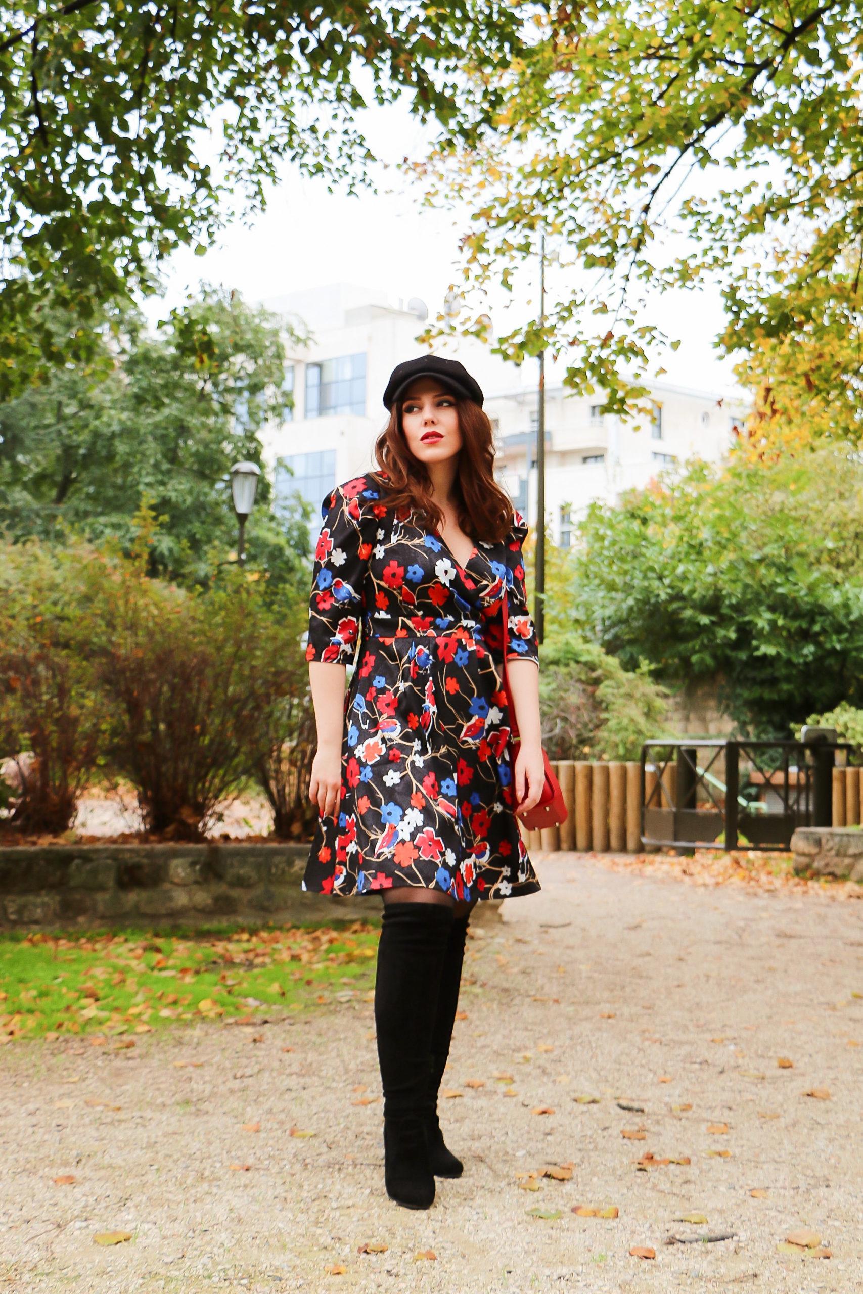 robe colorée et satinée imprimé floral Héroïnes Paris