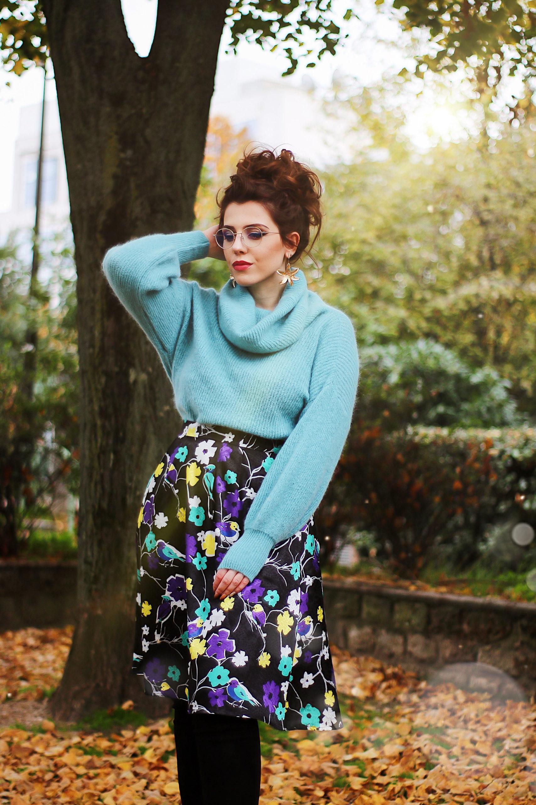 Look Héroïnes Paris pull bleu lagon en laine
