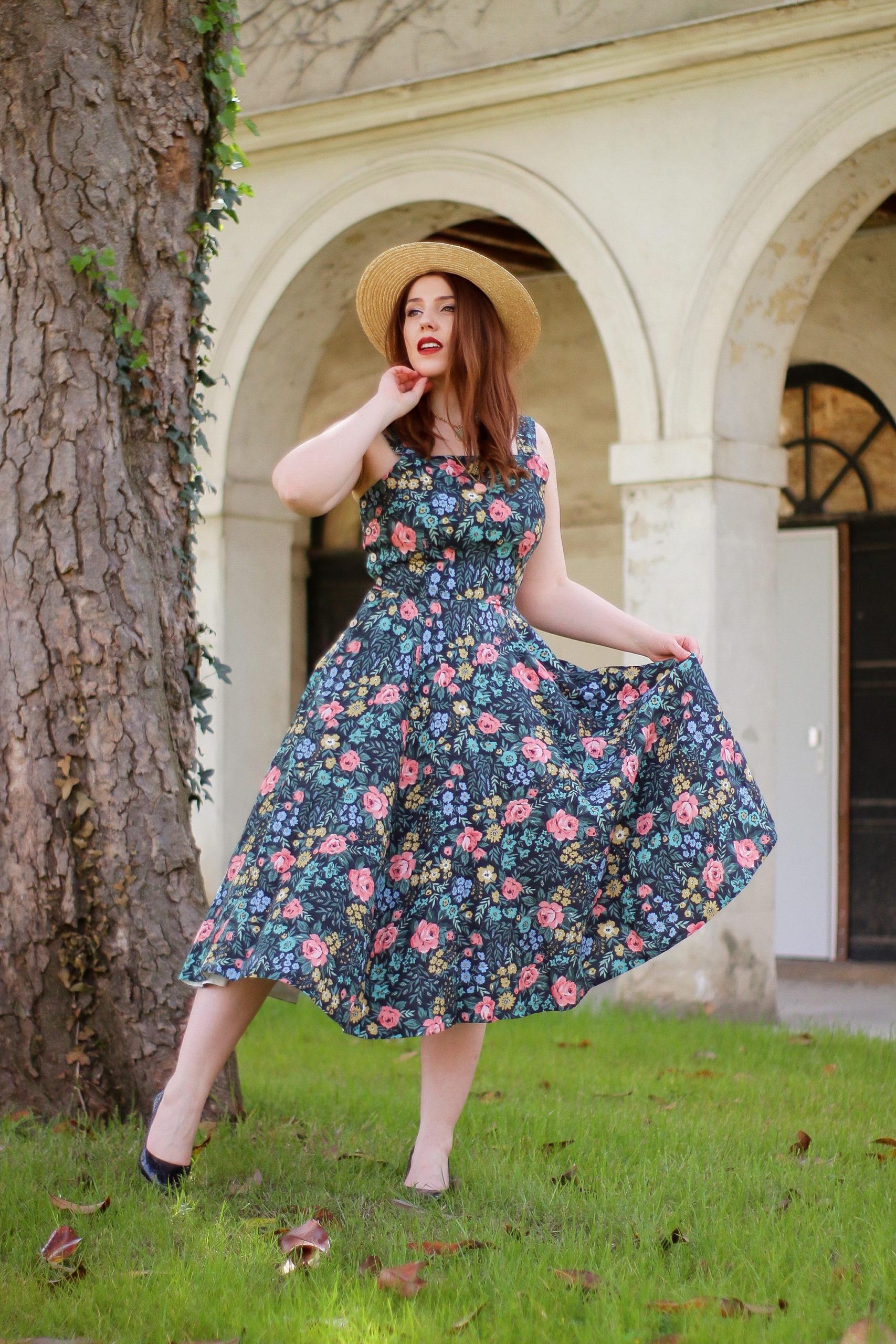 3 tenues de printemps estivale robe de printemps robe rétro vintage robe Sondeflor robe en lin été